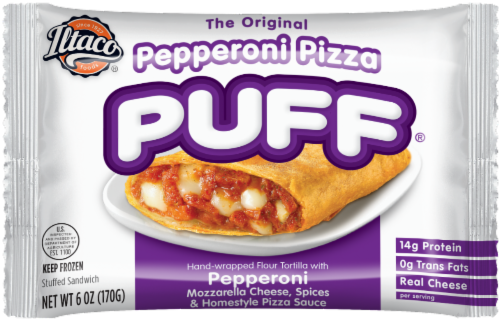Iltaco Pepperoni Pizza Puff Perspective: front