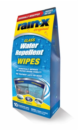 Rain-X® Water Repellent Glass Cleaner Wipes 10 Pack Perspective: front
