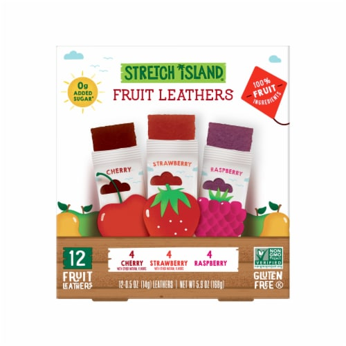 Stretch Island Cherry Strawberry & Raspberry Fruit Leathers Perspective: front
