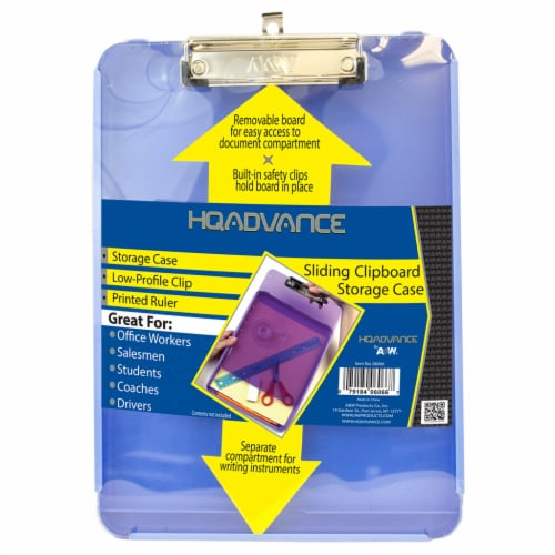 HQ Advance Sliding Clipboard with Storage Case - Blue Perspective: front