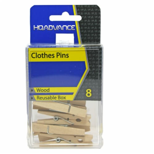 HQ Advance Wooden Clothes Pins - Natural Perspective: front