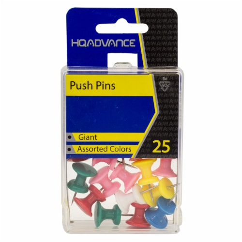 HQ Advance Jumbo Push Pins - Assorted Colors Perspective: front