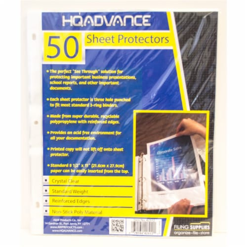 HQ Advance Standard Weight Sheet Protectors - Crystal Clear Perspective: front