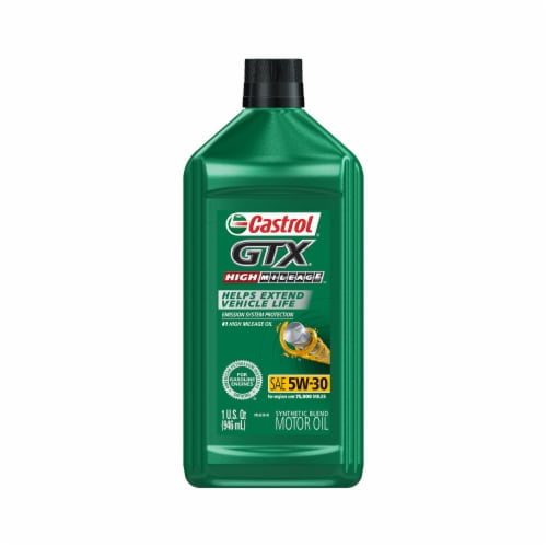 Castrol GTX High Mileage 5W-30 Synthetic Blend Motor Oil Perspective: front