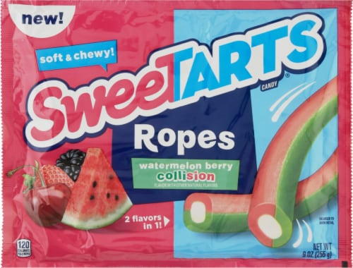 SweeTARTS Ripe Watermelon Berry Collision Ropes Perspective: front