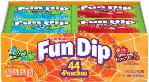 Fun Dip RazzApple and Cherry Yum Candy Pouches Perspective: front