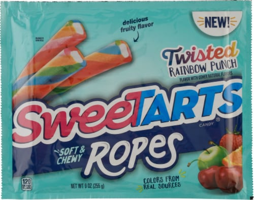 SweetTARTS Twisted Rainbow Punch Soft & Chewy Ropes Candy Perspective: front