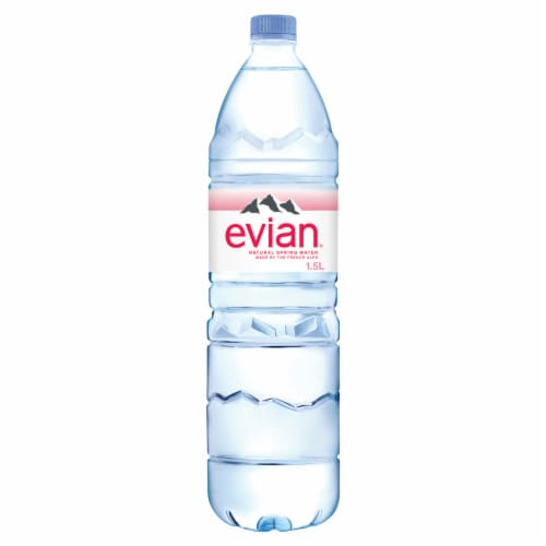 Evian Natural Spring Water Perspective: front