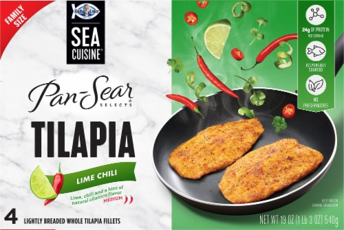 Sea Cuisine Pan-Sear Selects Medium Lime Chili Lightly Breaded Tilapia Fillets 4 Count Perspective: front