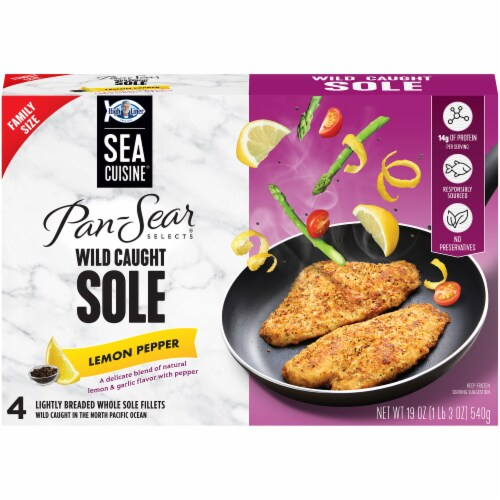 Sea Cuisine Pan-Sear Selects Lemon Pepper Wild Caught Lightly Breaded Sole Fillets 4 Count Perspective: front