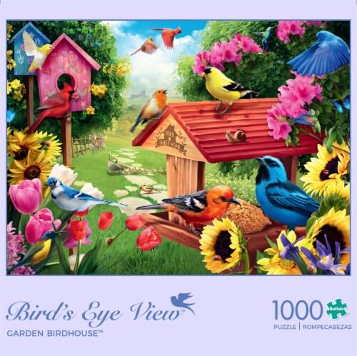 Buffalo Games Birds Eye View Garden Birdhouse Jigsaw Puzzle Perspective: front