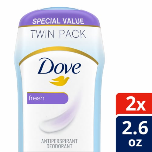 Dove Fresh Invisible Solid Antiperspirant Deodorant Twin Pack 2 Count Perspective: front