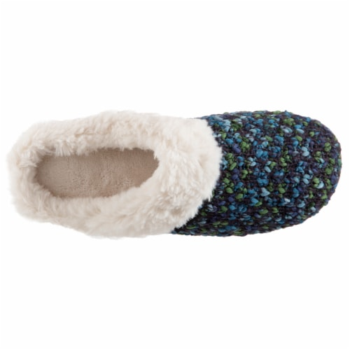 Isotoner® Women's Sweater Knit Amanda Hoodback Slippers - Navy Blue Perspective: front