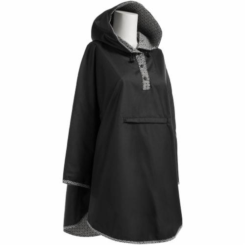 Totes Women's Signature Reversible Rain Poncho - Black Perspective: front