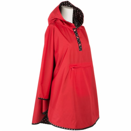Totes Women's Signature Reversible Rain Poncho - Red Perspective: front