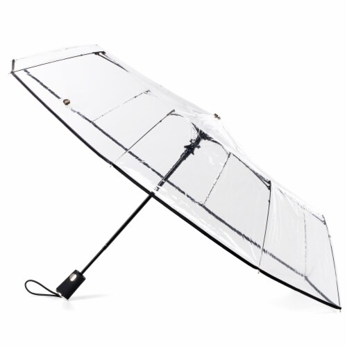 Totes Compact Auto Open Clear Canopy Umbrella Perspective: front