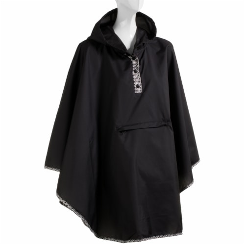 Totes Women's Rain Poncho - Black Perspective: front