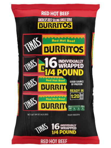 Tina's Red Hot Beef Burritos 16 Count Perspective: front