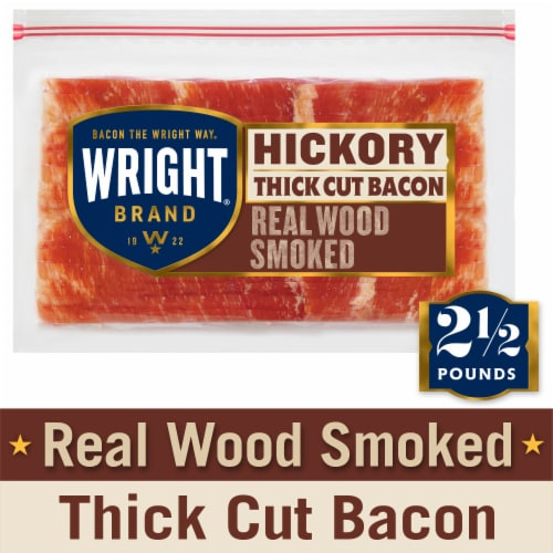 Wright Brand Thick Sliced Hickory Smoked Bacon Perspective: front