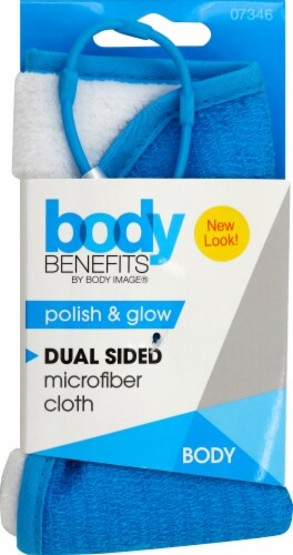 Body Benefits Dual Sided Bath Cloth - Blue/White Perspective: front