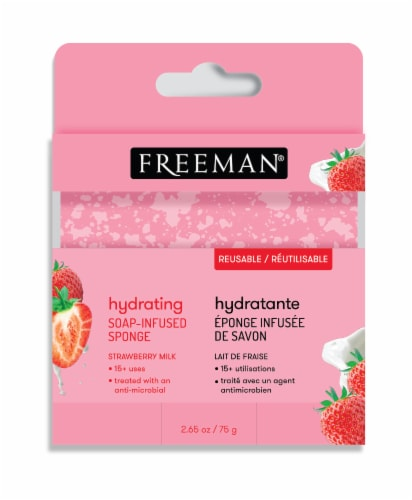 Freeman Hydrating Strawberry Milk Soap-Infused Sponge Perspective: front