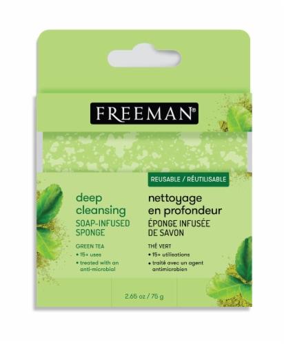 Freeman Deep Cleansing Green Tea Soap-Infused Sponge Perspective: front