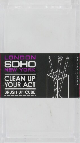 Soho Brush Up Brush Cube with Dividers - Clear Perspective: front