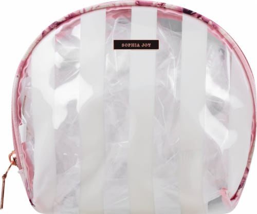 Sophia Joy Floral Round Top Cosmetics Organizer - Clear/Pink Perspective: front