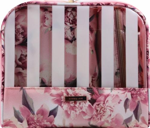 Sophia Joy Floral Wristlet Makeup Bag 3 Piece Perspective: front