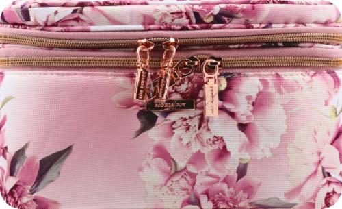 Sophia Joy Floral Double Zip Train Case Makeup Bag Perspective: front