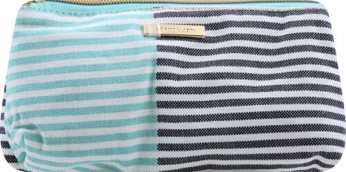 Sophia Joy Two Tone Stripe Purse Makeup Bag Perspective: front