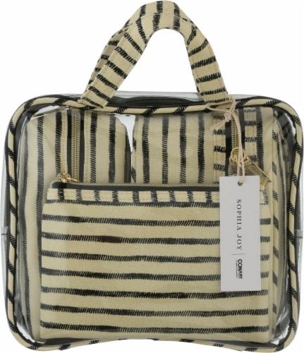 Sophia Joy Striped Makeup Tote Bag Perspective: front
