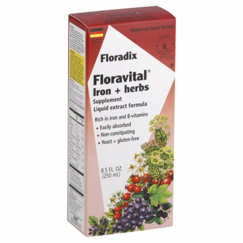 Floradix Floravital Iron & Herbs Supplement Liquid Extract Formula Perspective: front