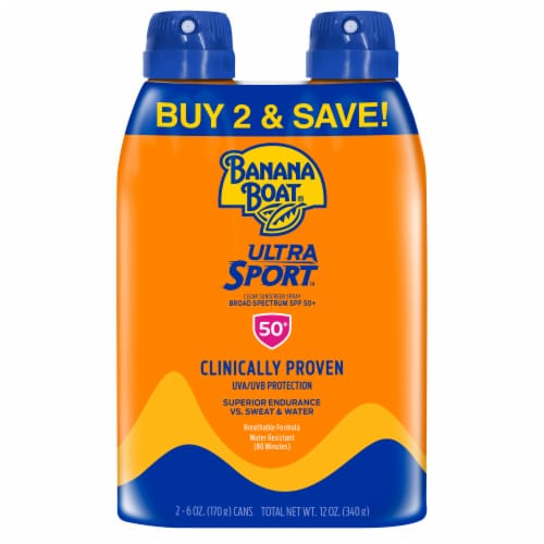 Banana Boat Ultra Sport Sunscreen Spray Twin Pack SPF 50+ Perspective: front