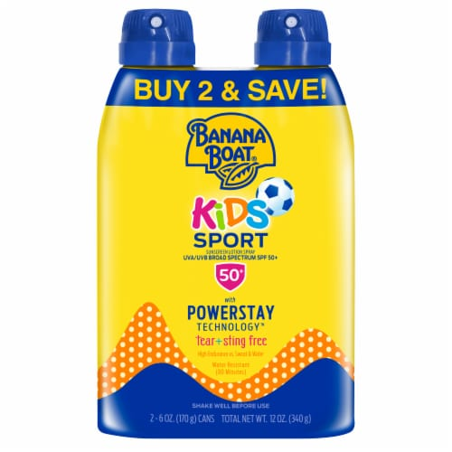 Banana Boat Kids Sport Sunscreen Spray Twin Pack 2 Count SPF 50+ Perspective: front