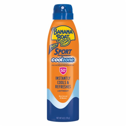 Banana Boat Sport Performance Cool Zone Spray Sunscreen SPF 50+ Perspective: front