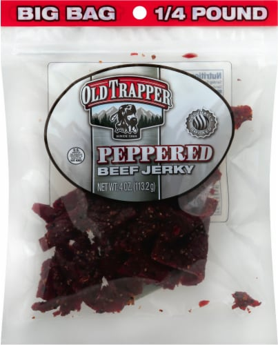 Old Trapper Peppered Beef Jerky Perspective: front