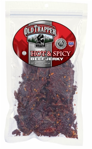 Old Trapper Hot & Spicy Beef Jerky Perspective: front