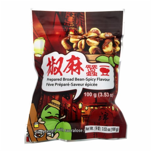 Six Fortune Spicy Flavored Prepared Broad Bean Perspective: front