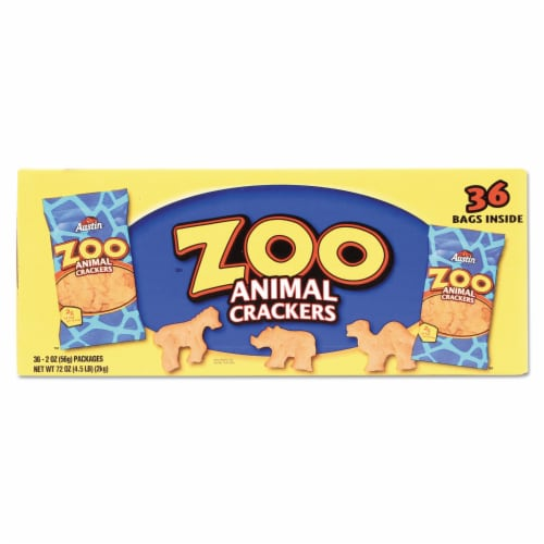 Zoo Animal Crackers, Original, 2 oz Pack, 36 Packs/Box 827545 Perspective: front
