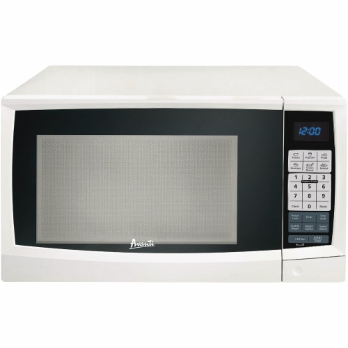 Avanti AVAMT112K0W 1.2 cu ft. 1000 watt Microwave Glass, White Perspective: front