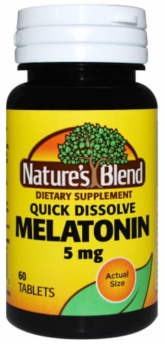 Nature's Blend Melatonin Quick Dissolve Tablets 5mg 60 Count Perspective: front