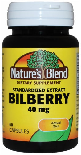 Nature's Blend Bilberry Extract Capsules 40mg Perspective: front