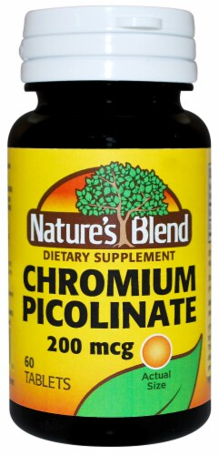 Nature's Blend Chromium Picolinate Tablets 200mg 60 Count Perspective: front