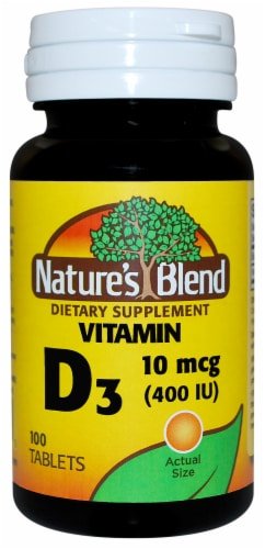 Nature's Blend Vitamin D3 Tablets 10mcg 100 Count Perspective: front