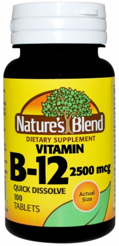 Nature's Blend Vitamin B-12 Tablets 2500mcg 100 Count Perspective: front