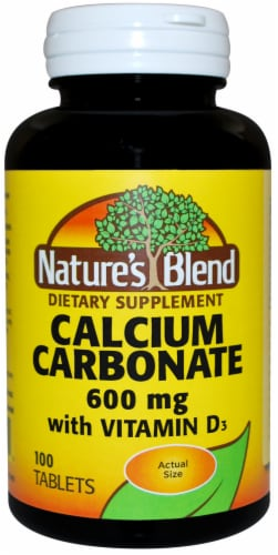 Natures Blend Calcium Carbonate D3 Tablets 600mg Perspective: front