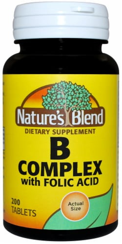 Nature's Blend B Complex Folic Acid Tablets 200 Count Perspective: front
