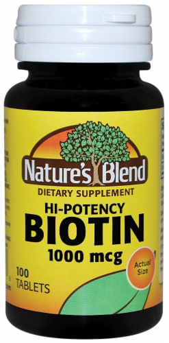 Nature's Blend Hi-Potency Biotin Tablets 1000mcg 100 Count Perspective: front