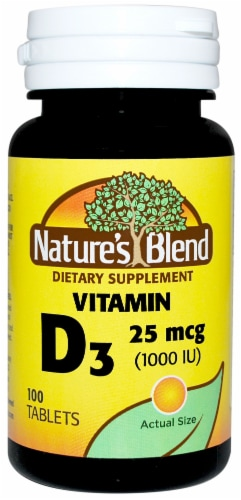 Nature's Blend Vitamin D3 Tablets 25mcg 100 Count Perspective: front